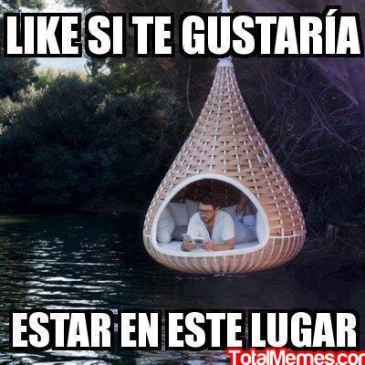 like si te gustaria estar en este lugar hamaca moderna colgada sobre rio leyendo acostado