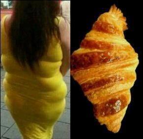 parecido razonable con un croissant pan de dulce mujer vestido gorda