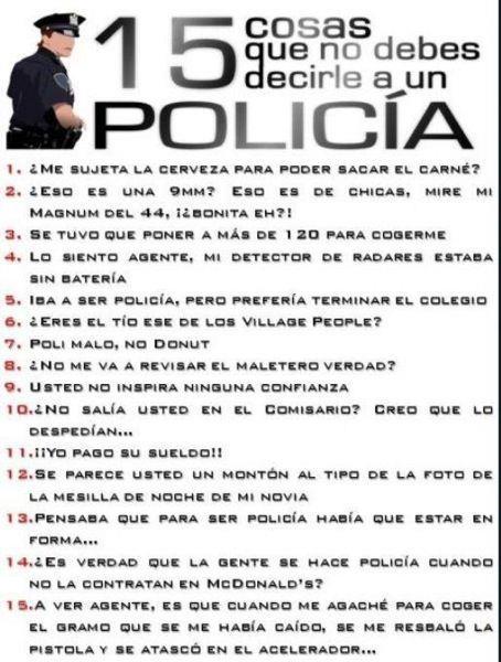 15 cosas que no debes decirle a un policia
