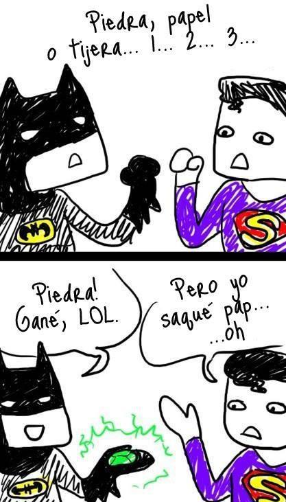 batman y superman jugando piedra papel o tijera kriptonita criptonita