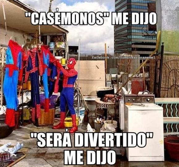 casemonos me dijo sera divertido me dijeron spiderman lavando sus trajes su ropa