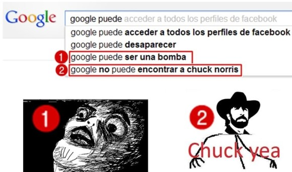 google puede ser una bomba no puede encontrar a chuck norris memes