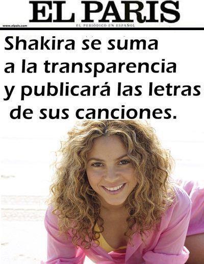 shakira se suma a la transparencia y publicara la letra de sus cancione