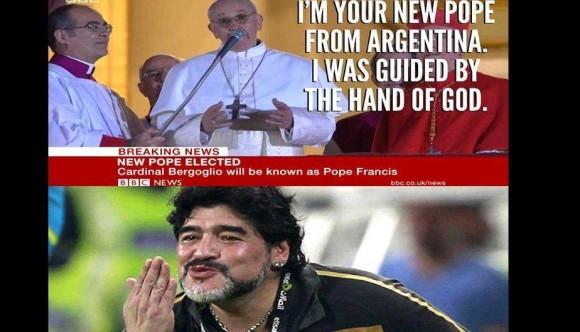 yo soy el nuevo papa de argentina fui guiado por la mano de dios maradona cara chistes imagenes chistosas