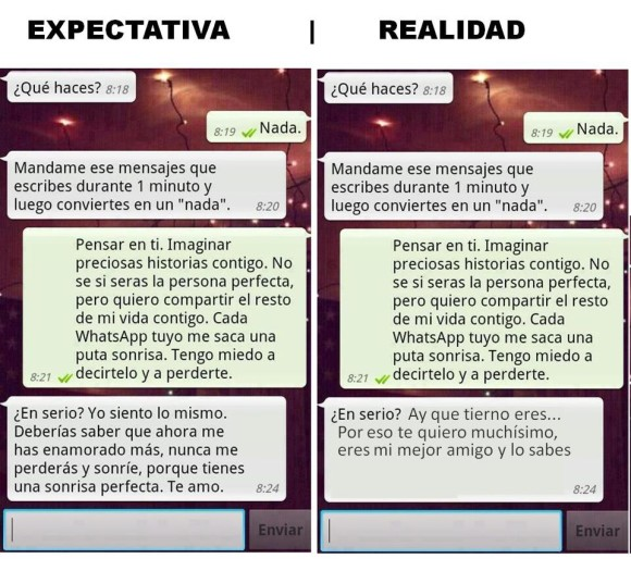 expectativa vs realidad mensajes whatsapp friendzone