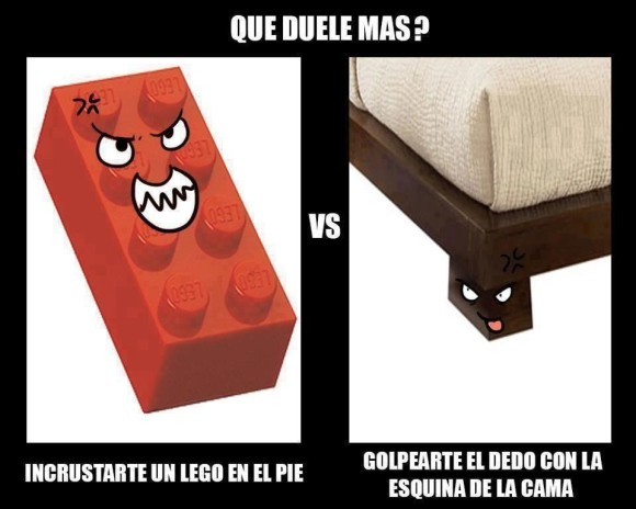 que duele mas incrustarte un lego en el pie o golpearte con la pata esquina de la cama