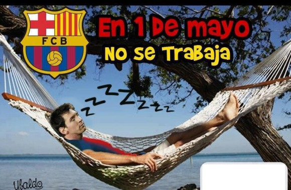 en 1ero de mayo no se trabaja messi no jugo contra el bayern munich barcelona