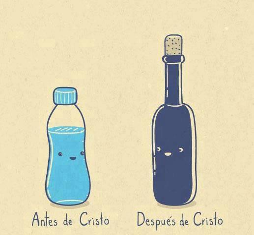 antes de cristo y despues de cristo botella de agua vino