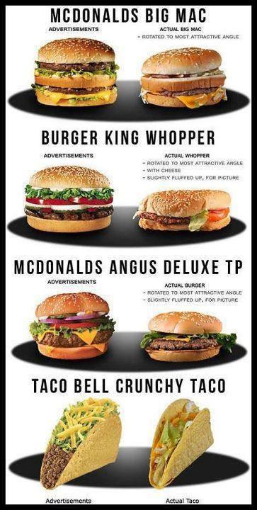 comida hamburguesas y tacos en los anuncios mc donalds y en la vida real