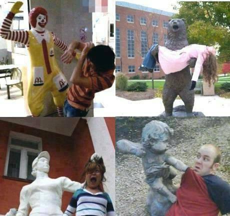 estatuas violentas fotografias chistosas raras