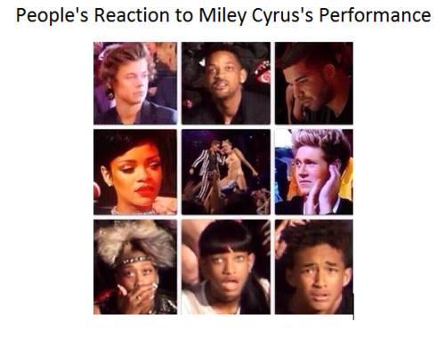 reacciones de la gente ante el performance de miley cyrus en vmas